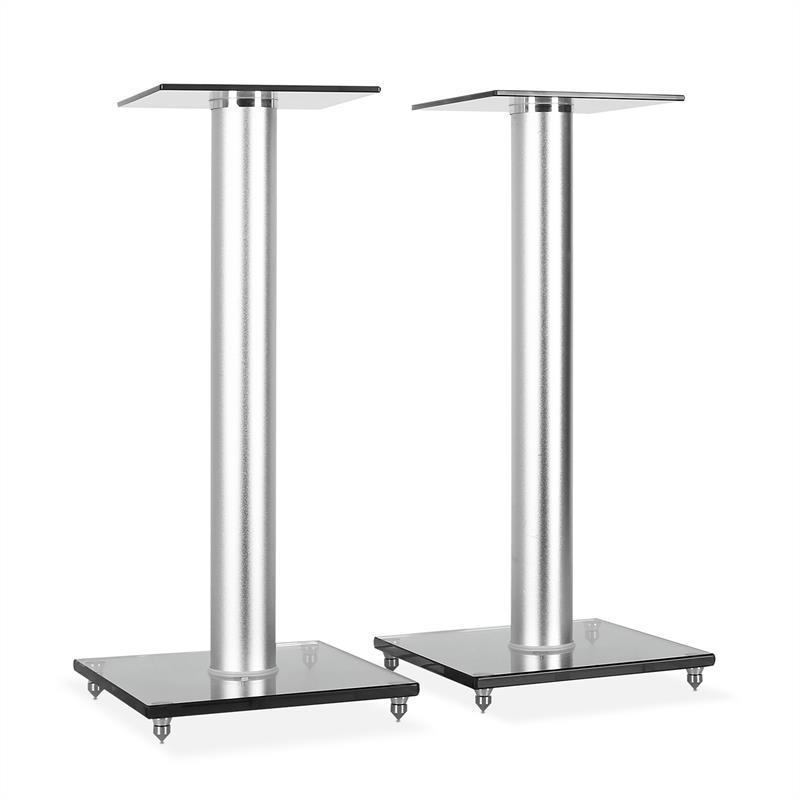 PAIR HI-FI SATELLITE SPEAKER STANDS 58cm GLASS