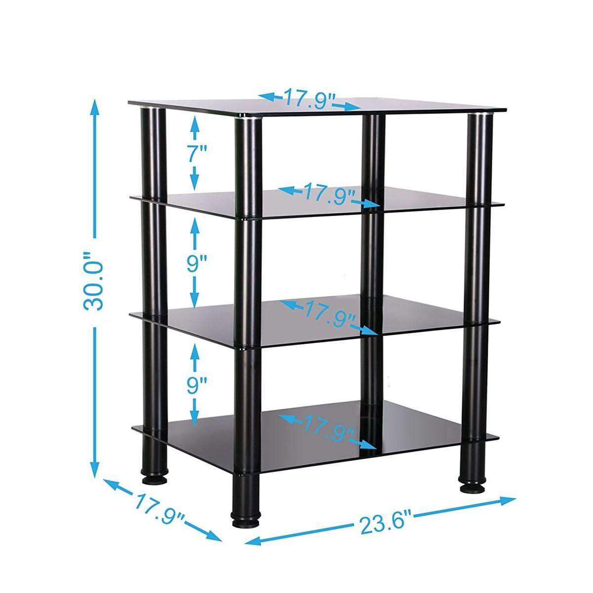 Black Glass Audio Video Shelving Floor Stand 4 Tier Media