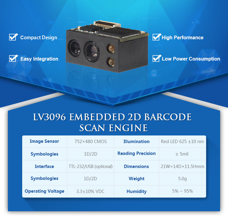 LV3096 Low Consume 2D TTL embedded mini barcode reader module for handheld devices