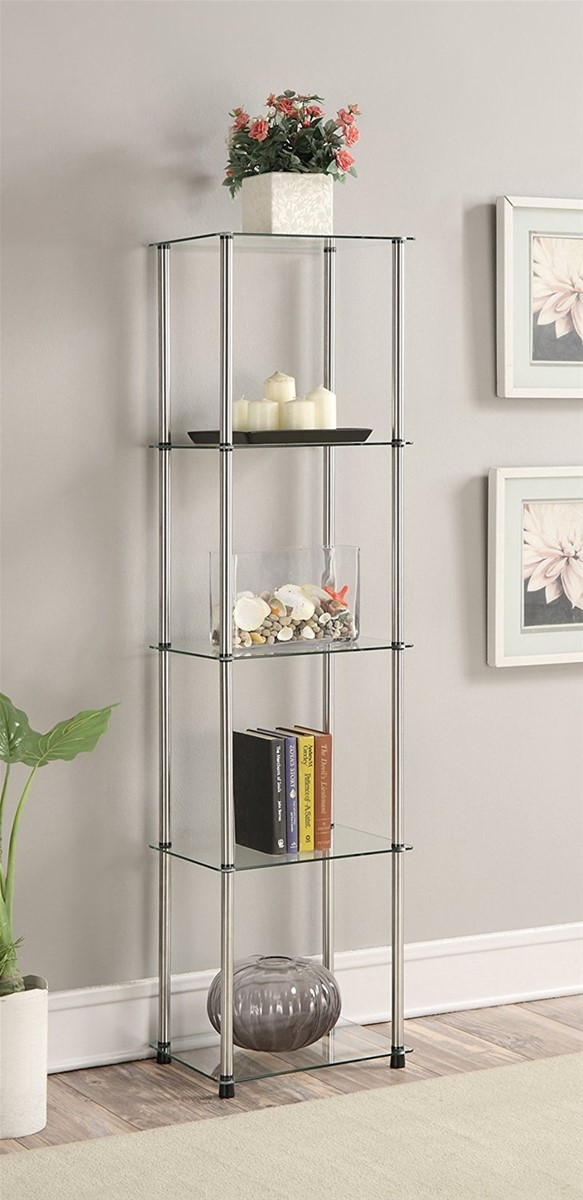 5 Shelf Glass Display Storage Floor Stands