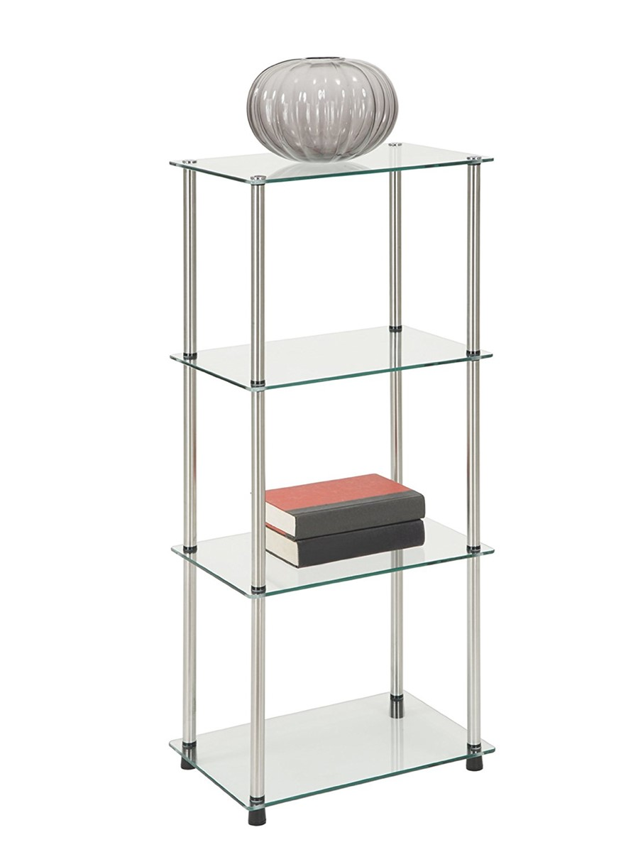 5 shelf glass tower