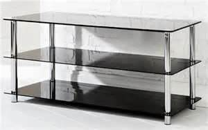 Black Glass 2 Shelves Chrome Plated Finish Tv Stand Purchasing