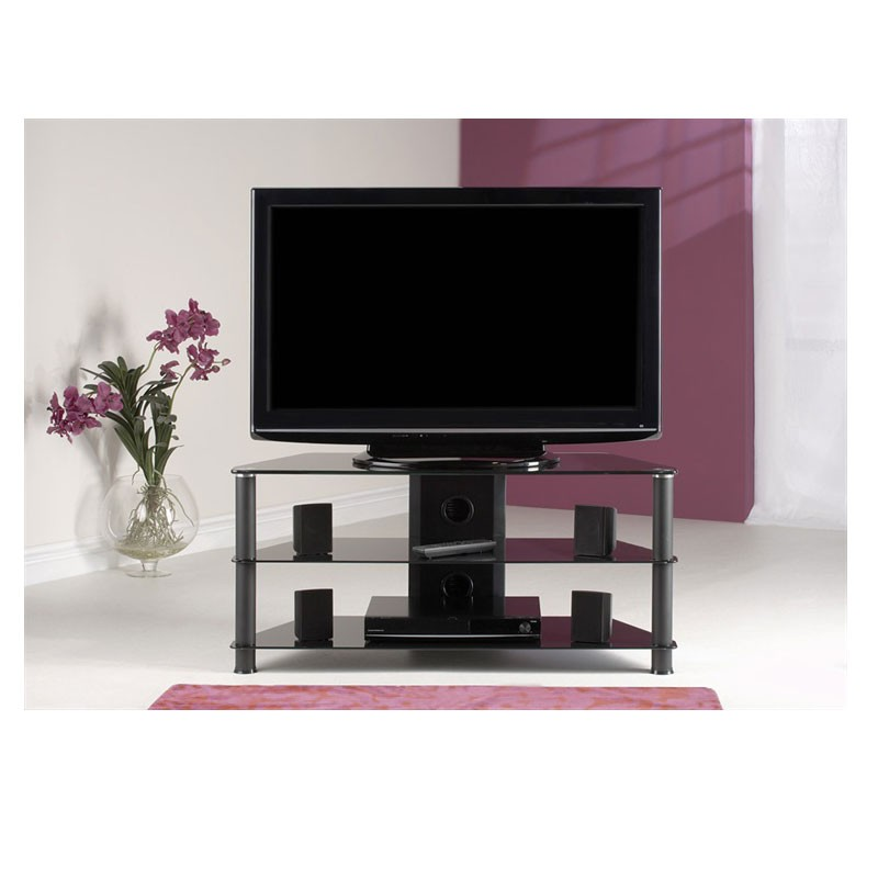 Classic Black Tempered Glass Tv Stand Suit For Up To 46 Inch Lcd Led