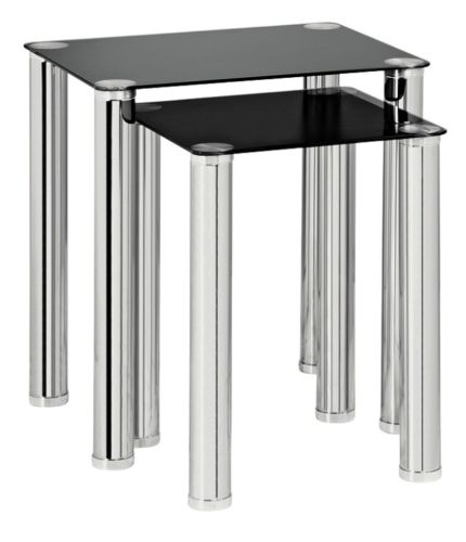 Nest Of 2 Tables Black Glass ...