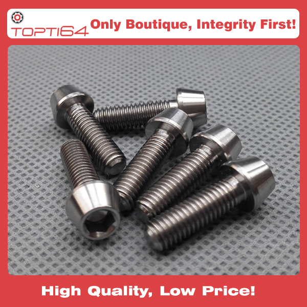 GR5 Ti6Al4V M5x20mm Titanium Screws Allen Hex Tapered Socket Cap Head