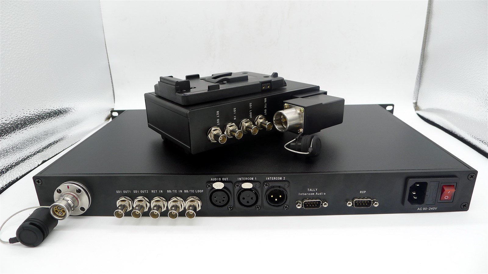 EFP to Fiber Converter(3G-Sdi+Tally+Lemo+Return Video+ Intercom+ Remote+ CCU+Ethernet +Genlock Hybrid Fiber Cable)