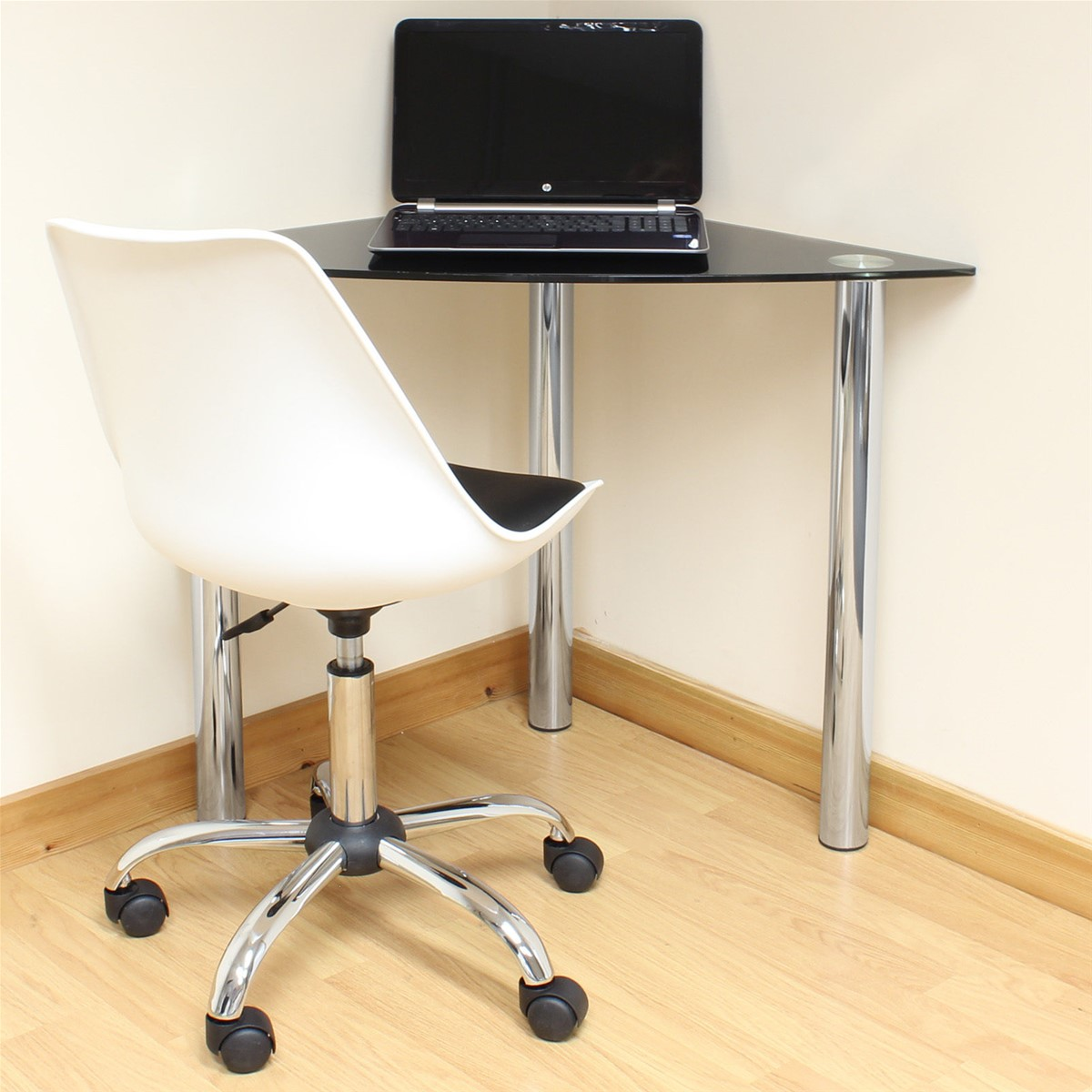 Black Glass Corner ComputerPCLaptop Desk HomeOfficeStudy Table Chrome Legs