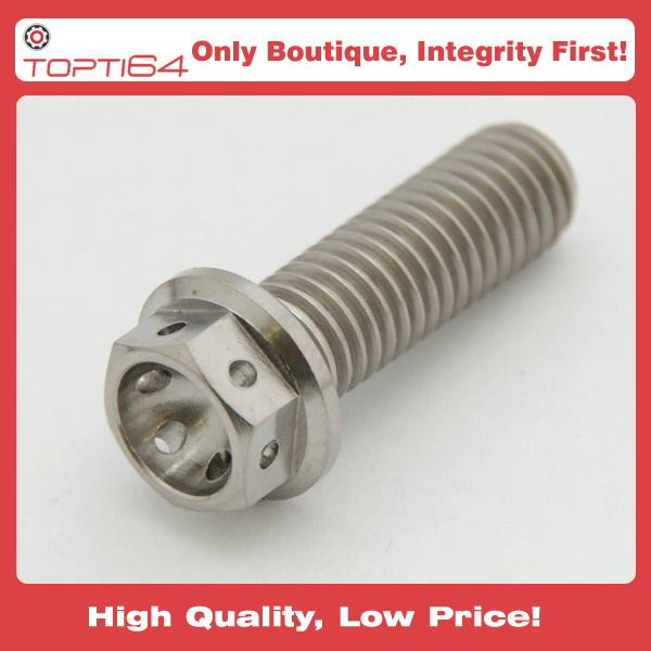 M8 Titanium Bolt 25mm Hex Head RACE Flange Drilled Lock Safety Wire 25 x  1 25