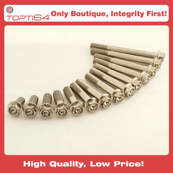 M6 Titanium Hex Head Race Spec Bolts Drilled Lock Wire 10 15 20 25 30 35 40  x 1 0 Thread
