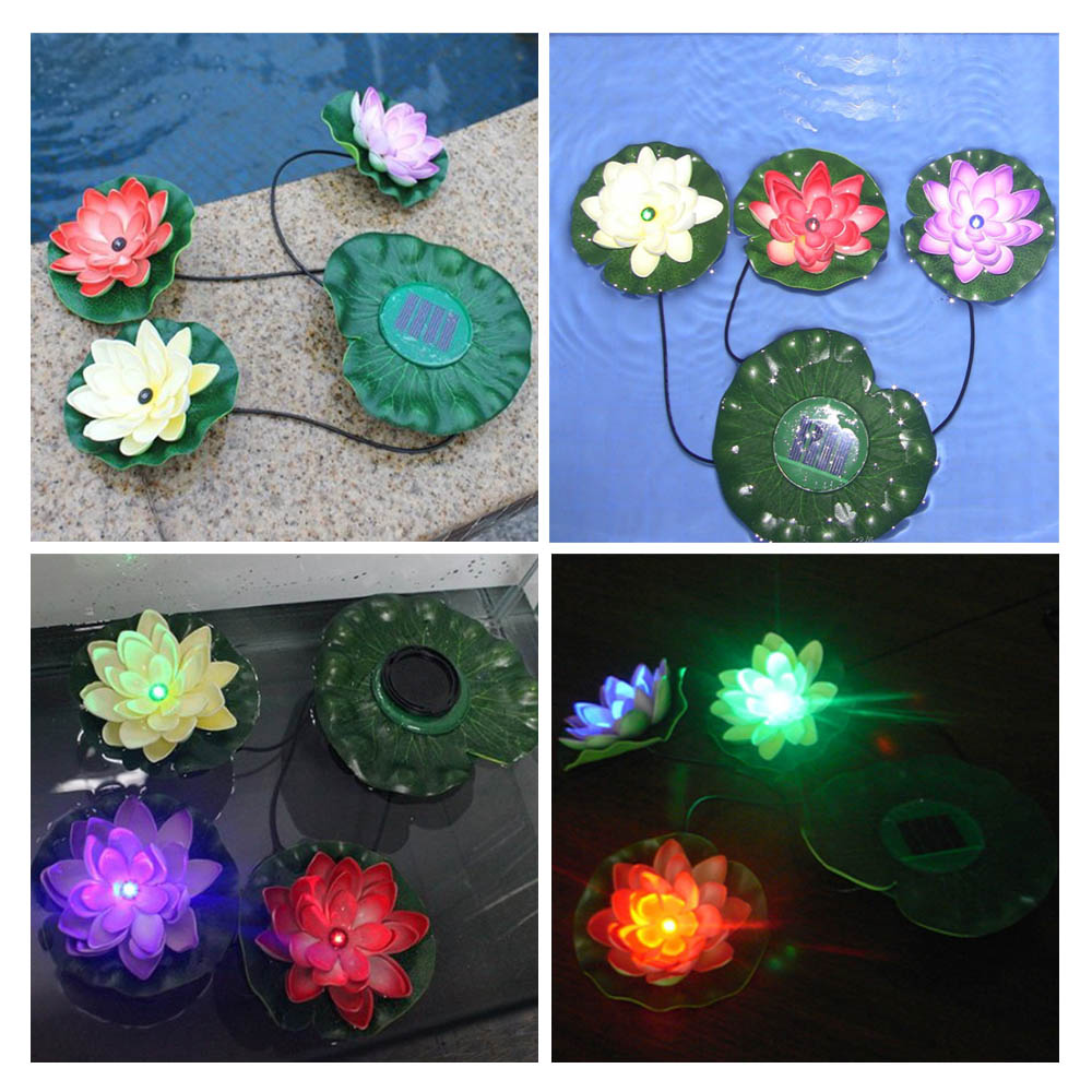 Practical Garden Pool Floating Lotus Solar Light Night Flower Lamp for Pond Fountain Decoration Solar Lamps