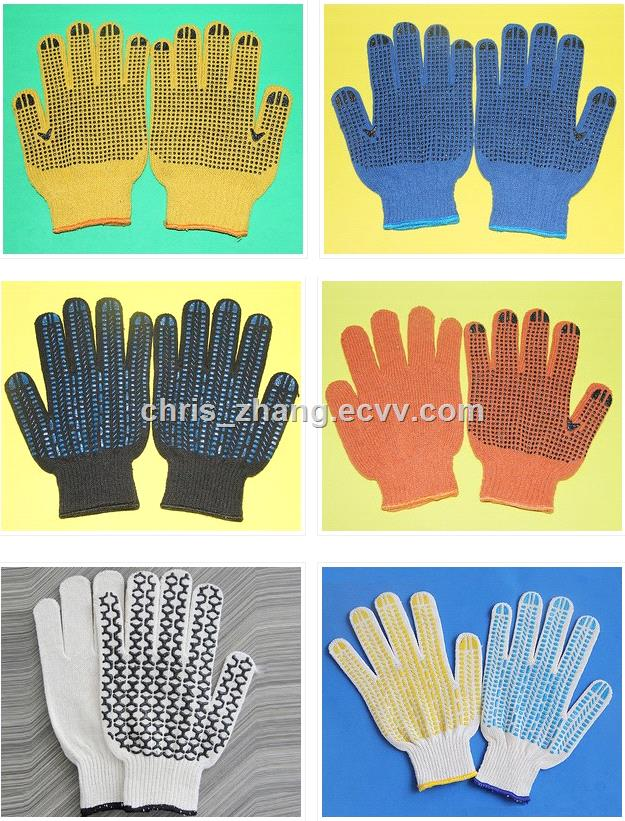 HOT Knitted thin cotton PVC safety and industrial gloves