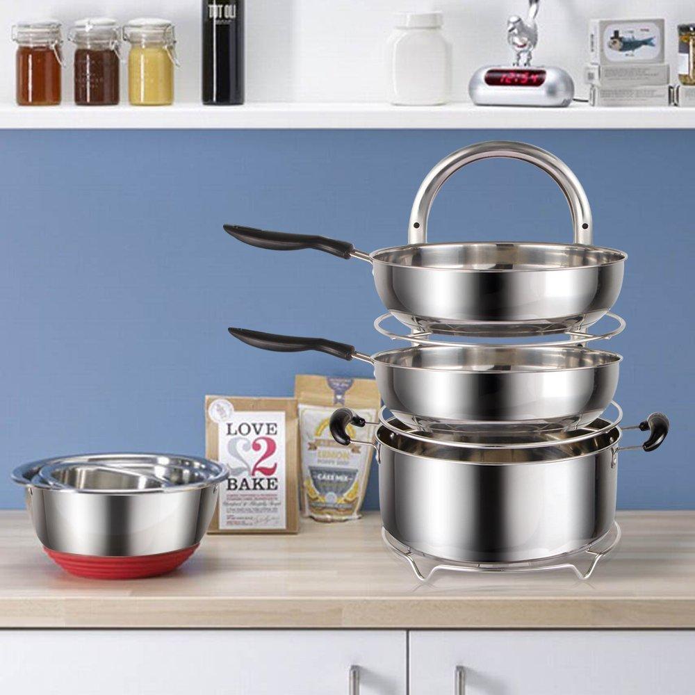 Lifewit 5-Tier Adjustable Stainless Steel Pan Pot Organizer ...