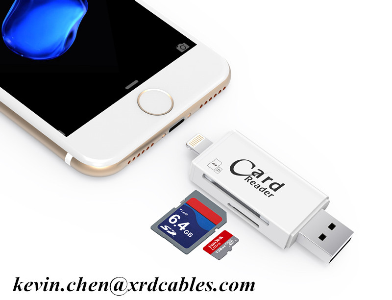 huge selection of f17c2 dbddd 3 in 1 Card Reader Multi Function 8Pin Micro USB Micro SD Card SD Card Slot  for iPhone 7 Android Computer
