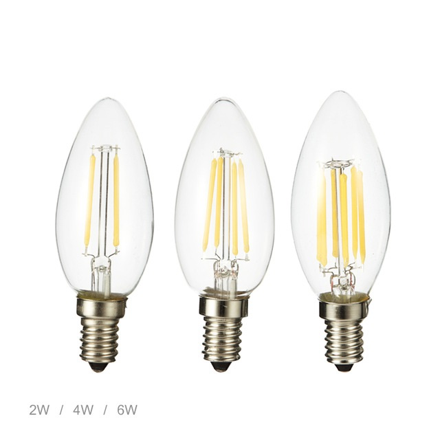 LED Brand LED Bulb E14 2W 4W 6W AC220V Glass Shell 360 Degree Vintage LED Candle Light C35 Edison LED Filament Lamp