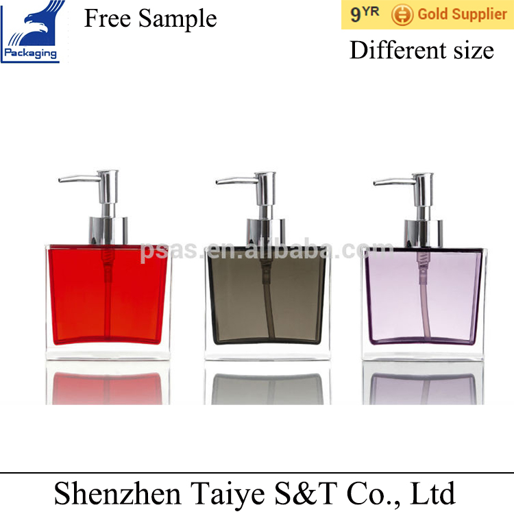 Different special shape exquisite acrylic lotion bottle with metal pump