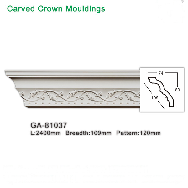 Newly Polyurethane Carved Crown Moulding Cornice