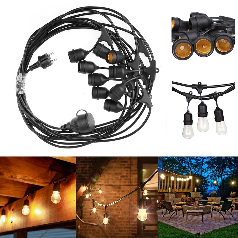 Waterproof 9m 30ft 9 Heads E27 40W String Light Pendant Lamp for Garden Porches Pergola Outdoor Decor retro wall lamp