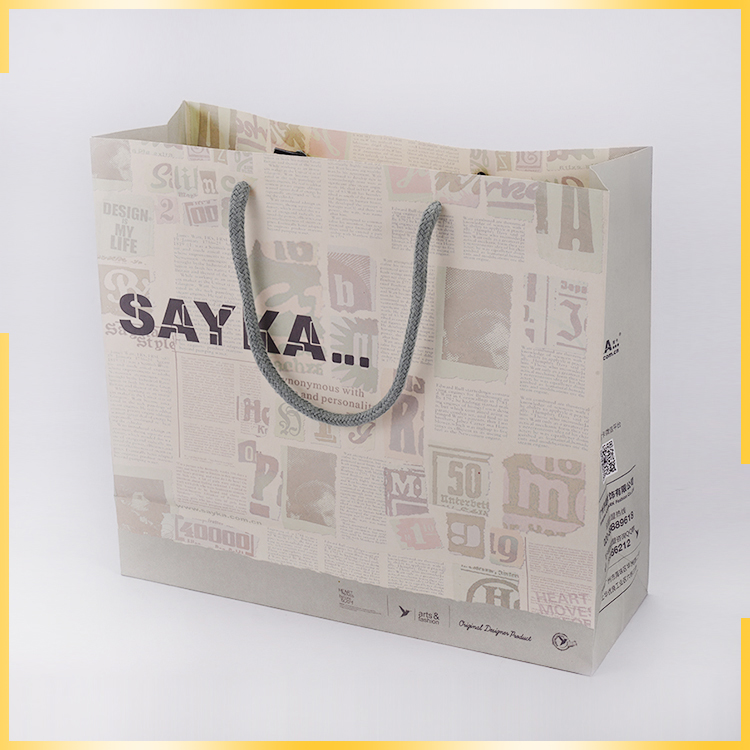 Recyclable Newspaper Style Shopping Packaging Customized Craft Paper