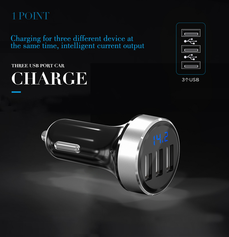 Fashion design ABS 5V 31A 3 USB intelligent Car Charger AP03