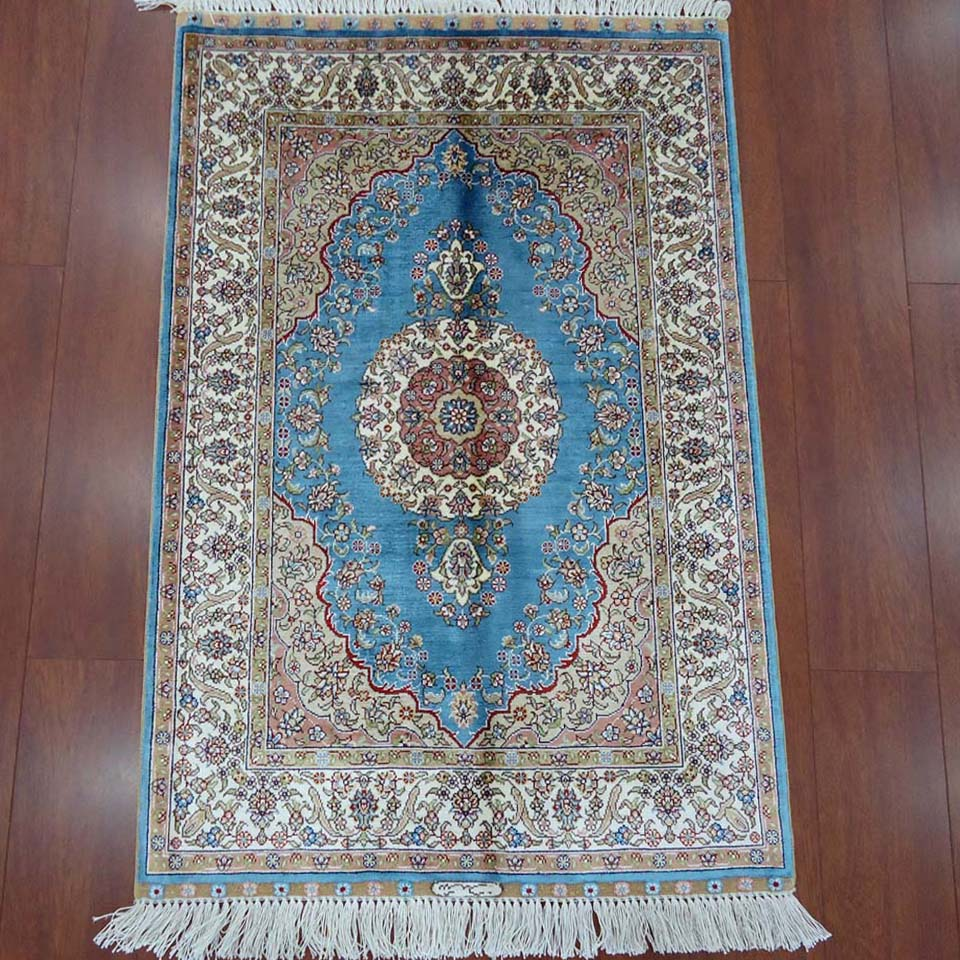 2x3 Small Bedroom Blue Rug Handmade Persian Silk Rugs purchasing ...