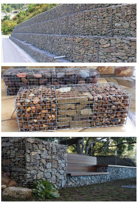 Erosion Control Stone Cage Galvanized / PVC Coated Hexagonal Woven / Weld Gabion Box / Basket / Mattress
