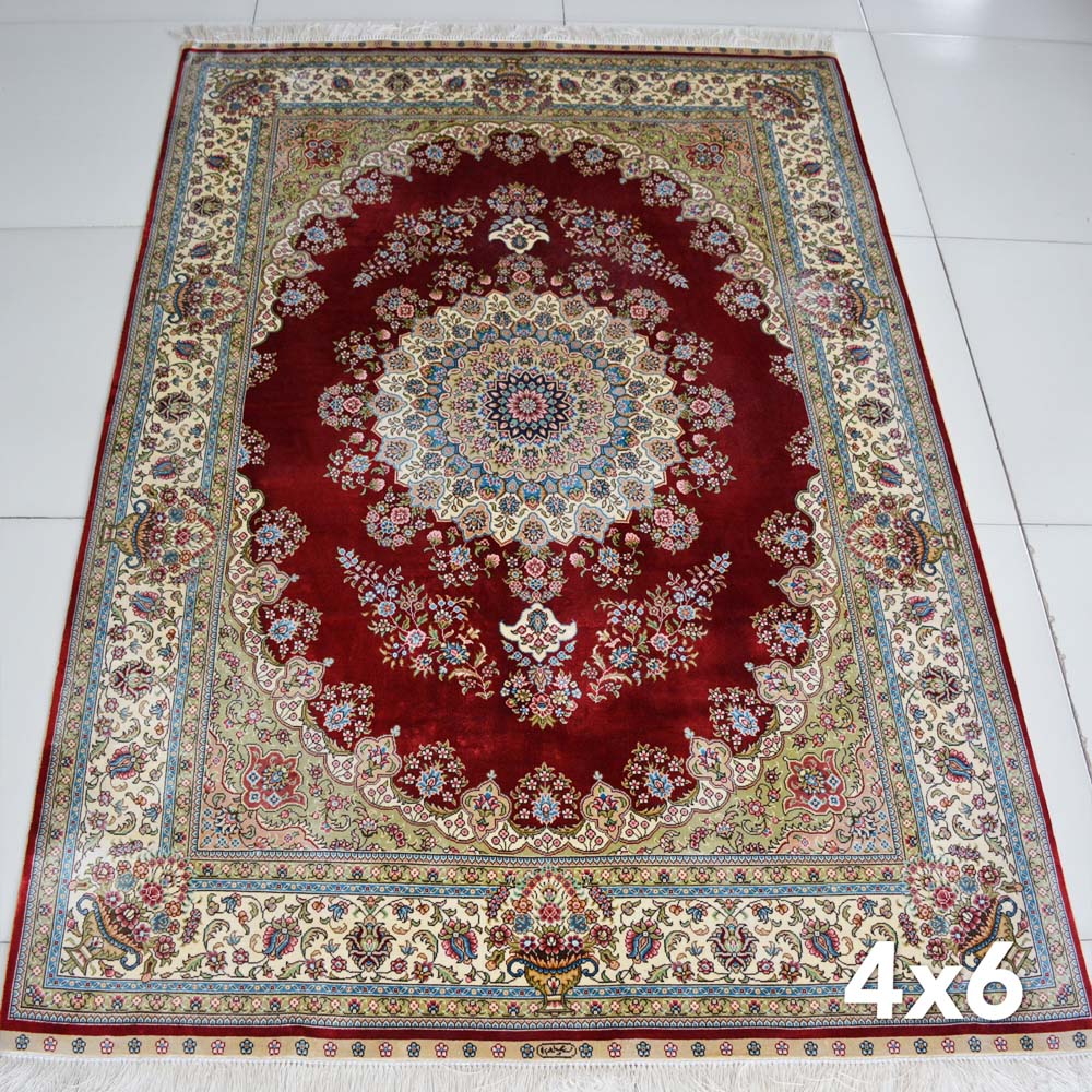 4x6 Oriental Traditional Design Persian Silk Carpet Red