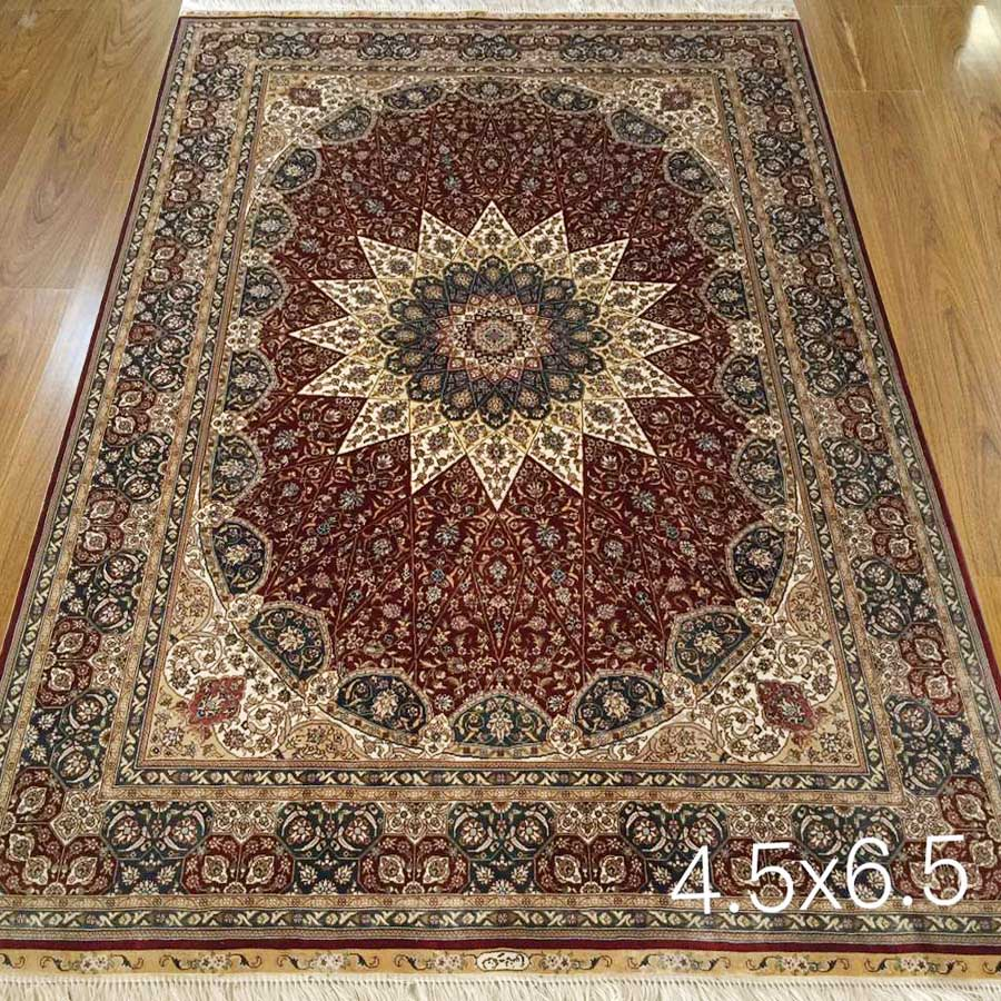 4x6 Red Hand Made Oriental Rugs Qom Tabriz Persian Rug Silk Carpet Hand Knotted