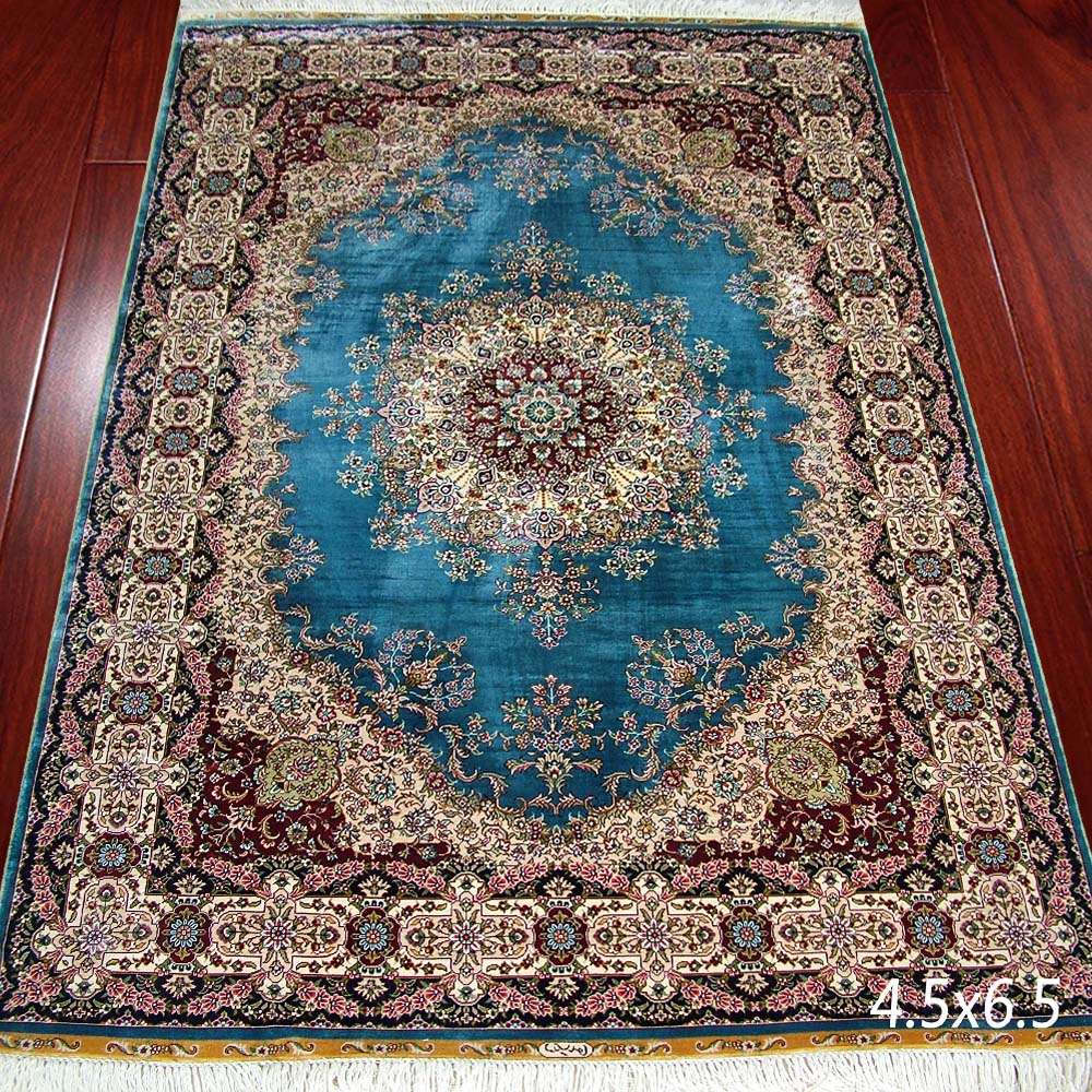 Blue Persian Silk Carpet Hand Knotted