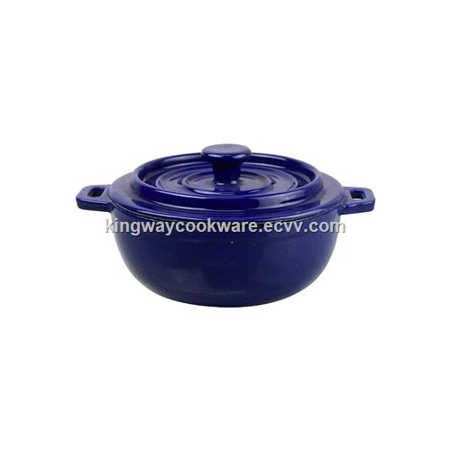 Blue Enamelled Mini Cast Iron Cocotte Pot KA13