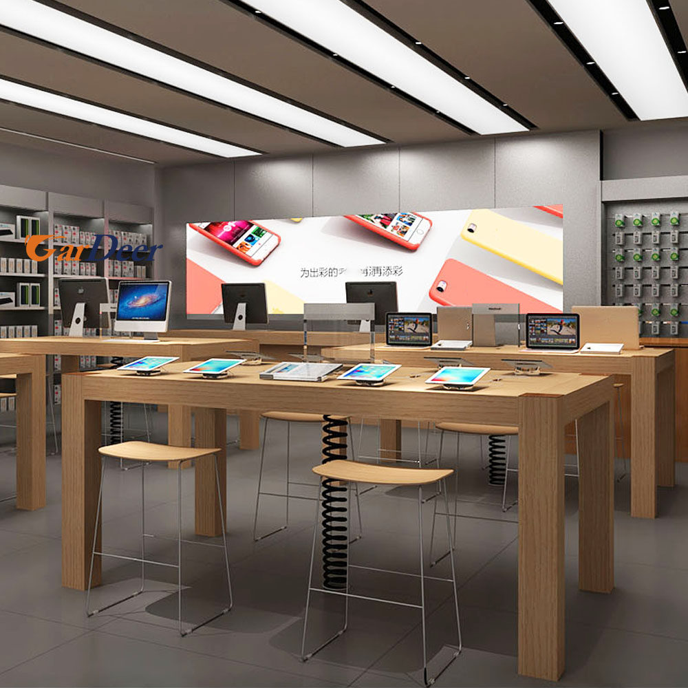 High Quality 24001200900mm Wood Grain Wood Display Table For Apple Store  Experience ...