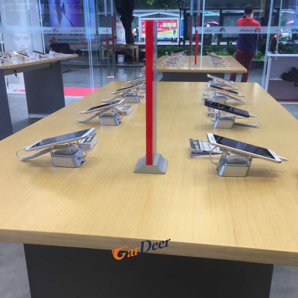 2017 new style 1800x900x900mm U shape stainless steel display table for huawei store experience