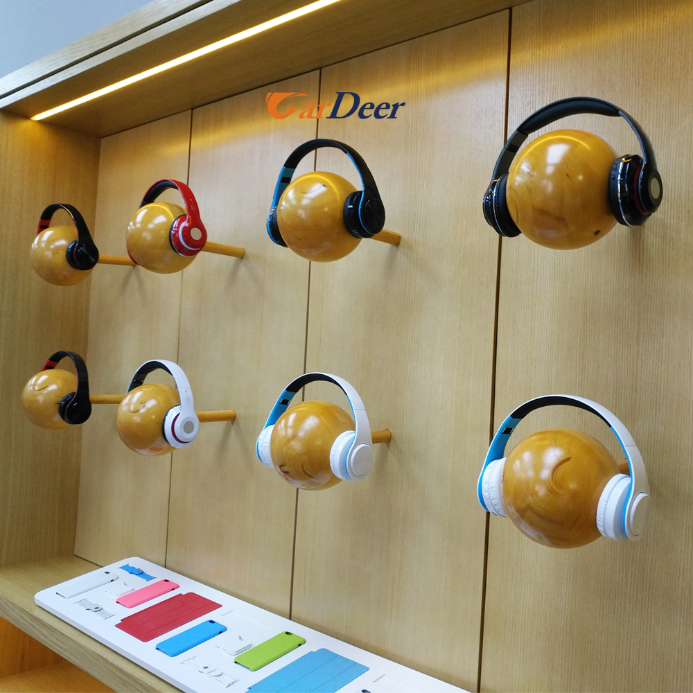 Fashion design customized wall wood headphone showcase for apple store experience