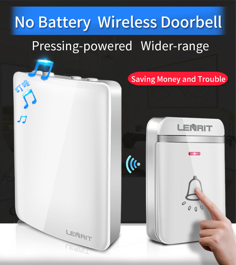 Wireless Doorbell No Battery 4 Level Adjustable 48 Tunes Waterproof