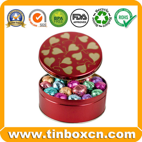 Round Metal Tin Chocolate Box, Chocolate Tin Box, Food Can (BR1507)
