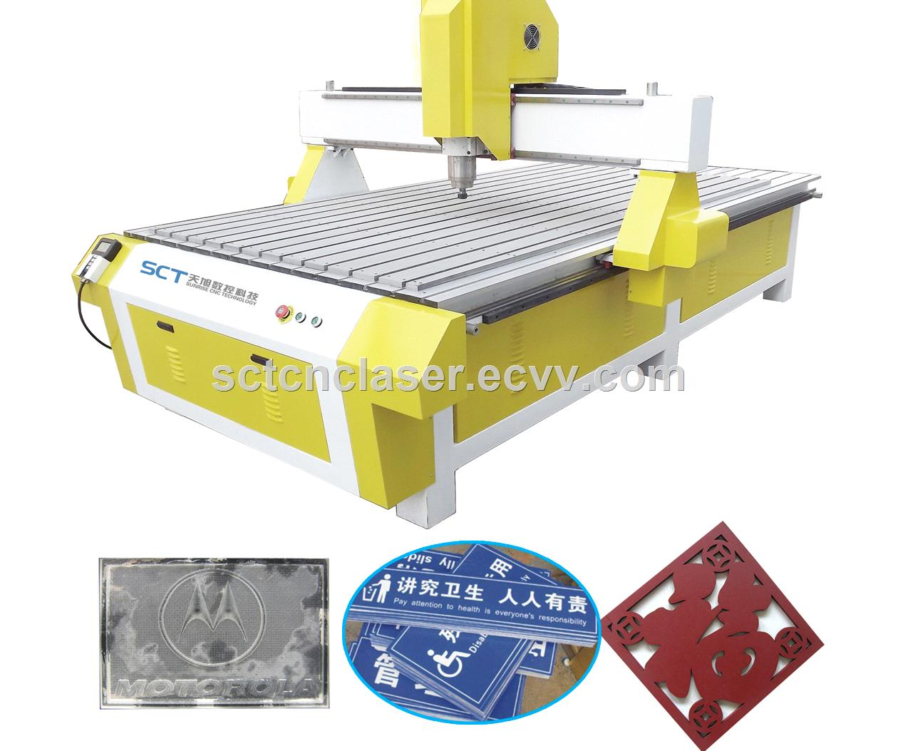 SCT-B1224 Copper Aluminnum Wood MDF High Precision Engraving CNC Router for  Advertising Wood Furniture