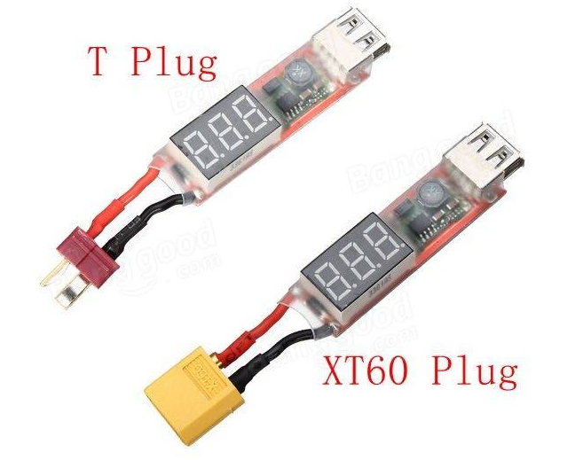 T or XT60 connector 2S6S Lipo to USB Power Converter Adapter wDigital Display 5V 2A wDigital Display 5V 2A