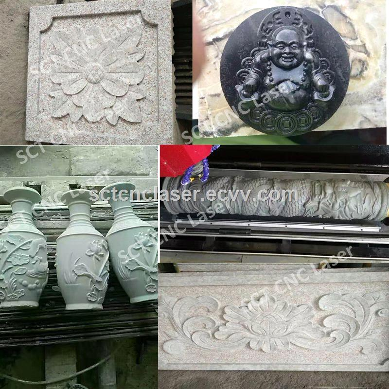 SCT Rotary Axis Precision Stone Marble Engraving CNC Router