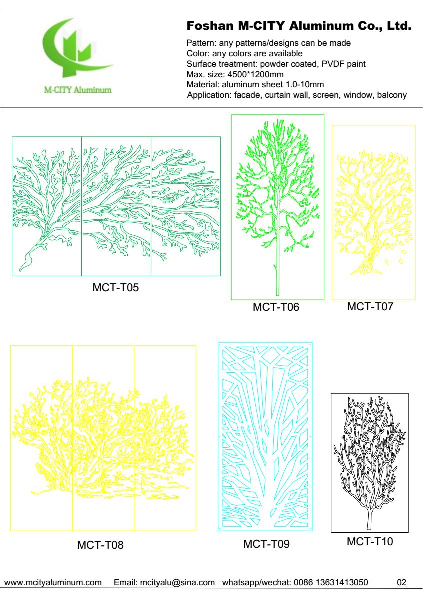 Decoration Aluminum Laser Cut CNC Engraved Tree Pattern Panel for ...