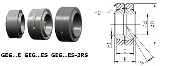 GEES Series Bearings GE40ES GE44ES GE50ES Radial Spherical Plain Bearing
