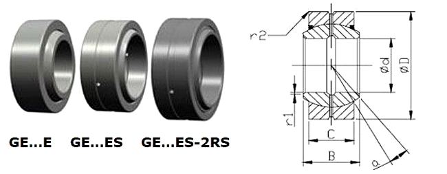 GEES Series Bearings GE40ES GE44ES GE50ES Radial Spherical Plain Bearing