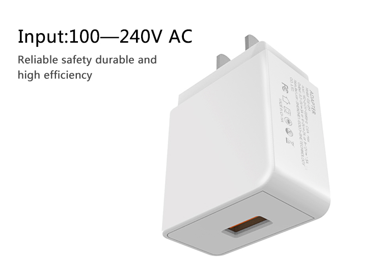 New arrival QC30 18W Max Quick Fast USB Charger 1 Port Wall Charger for Mobile Phone