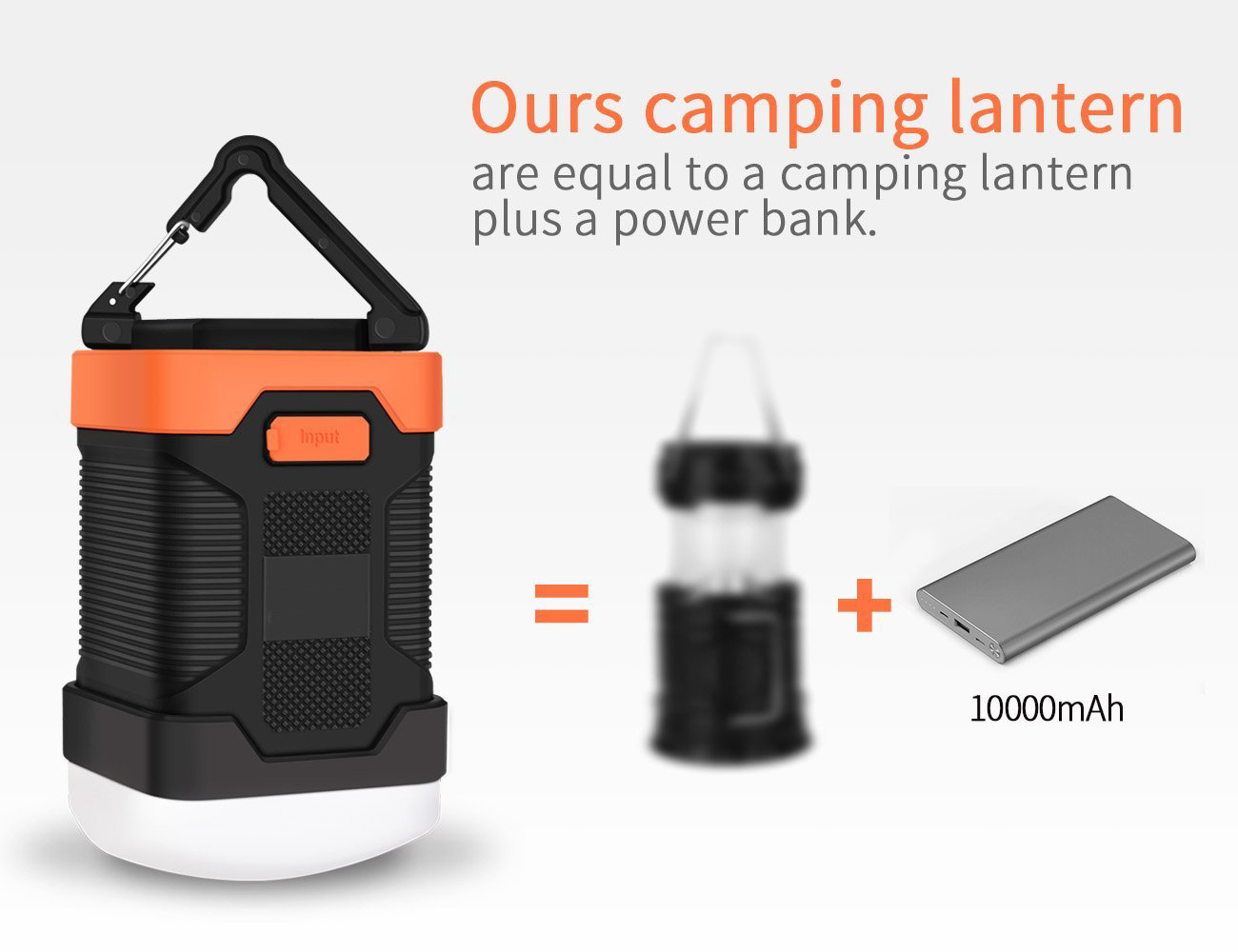 Outdoor USB Rechargeable Waterproof LED Camping Lantern Power Bank 10000mA