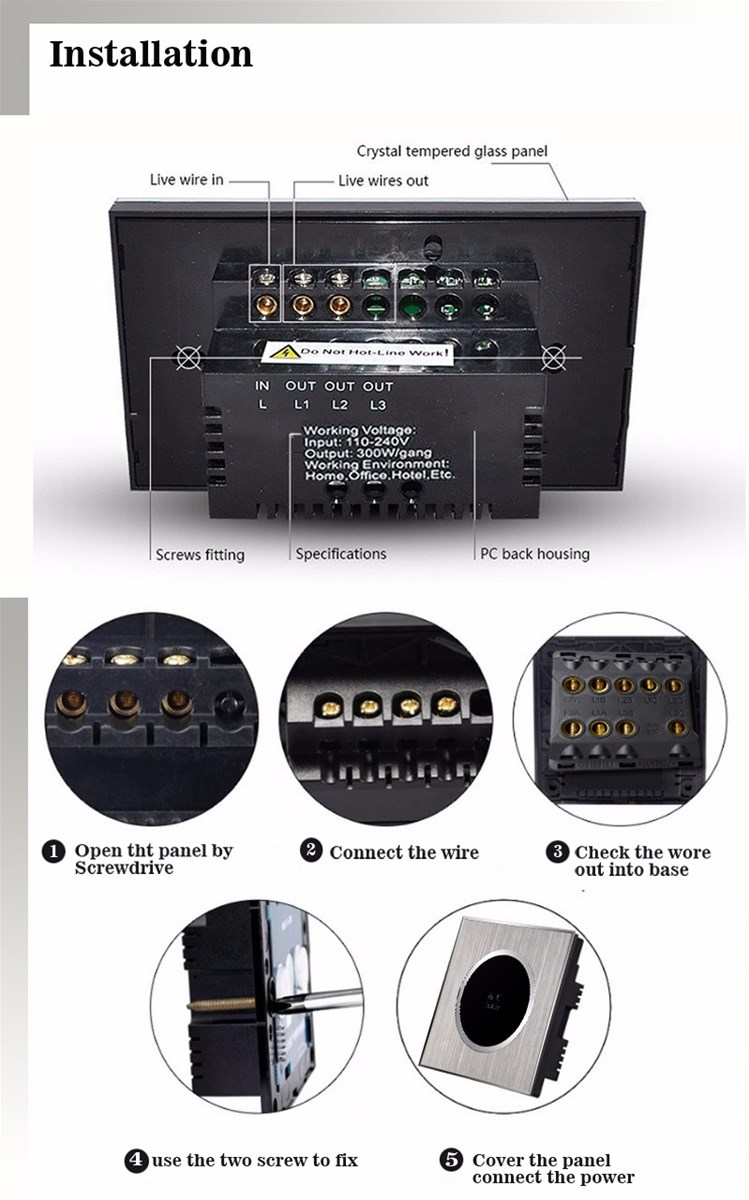 Mvava Touch Wall Switch Satin Metal Panel Uk Screen Two Way L1 L2 L3 Light 1 Gang