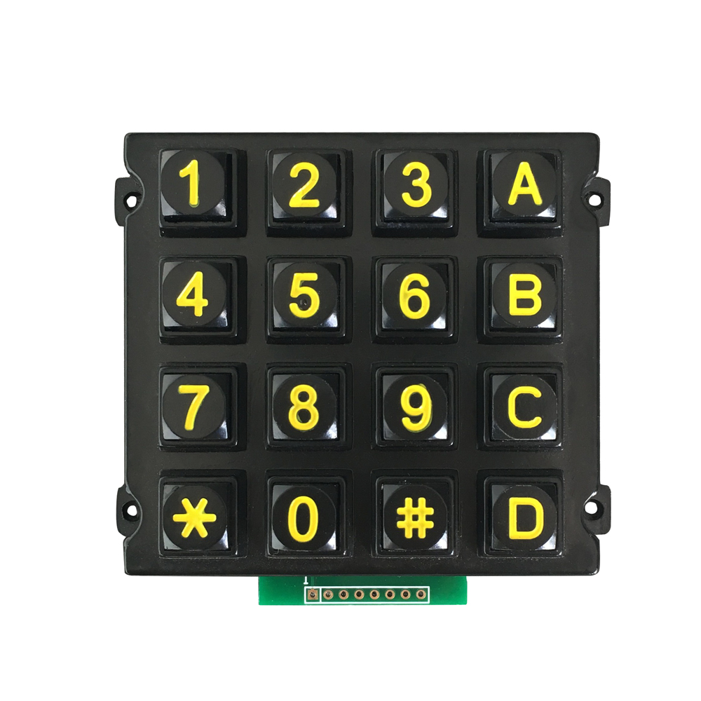 numeric zinc alloy metal 4x4 matrix design keypad