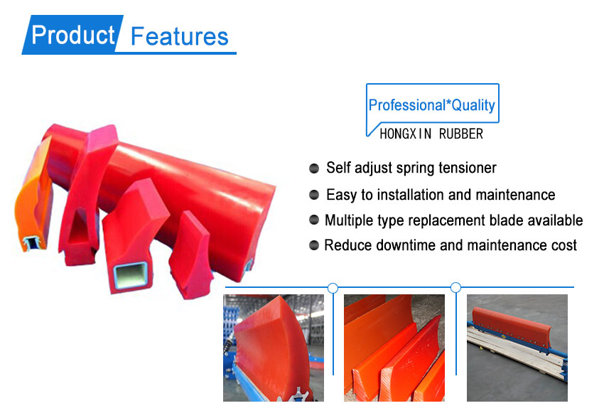 High abrasion resistant polyurethane scraper secondary conveyor belt cleaners