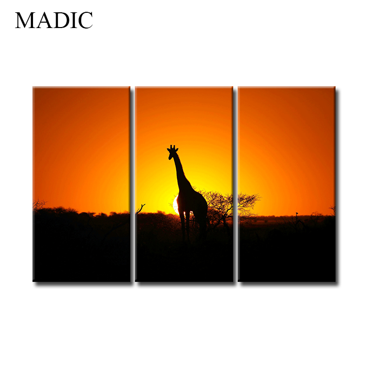 Canvas Art Home Decor 3 Panel Oil Painting of Giraffe African Landscape  Canvas Prints for Living Room Decoration