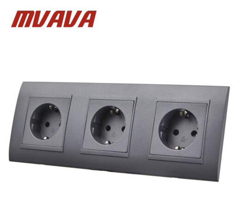 MVAVA Triple EU Standard Wall Socket Black PC Panel 3 Frame AC 110 ...