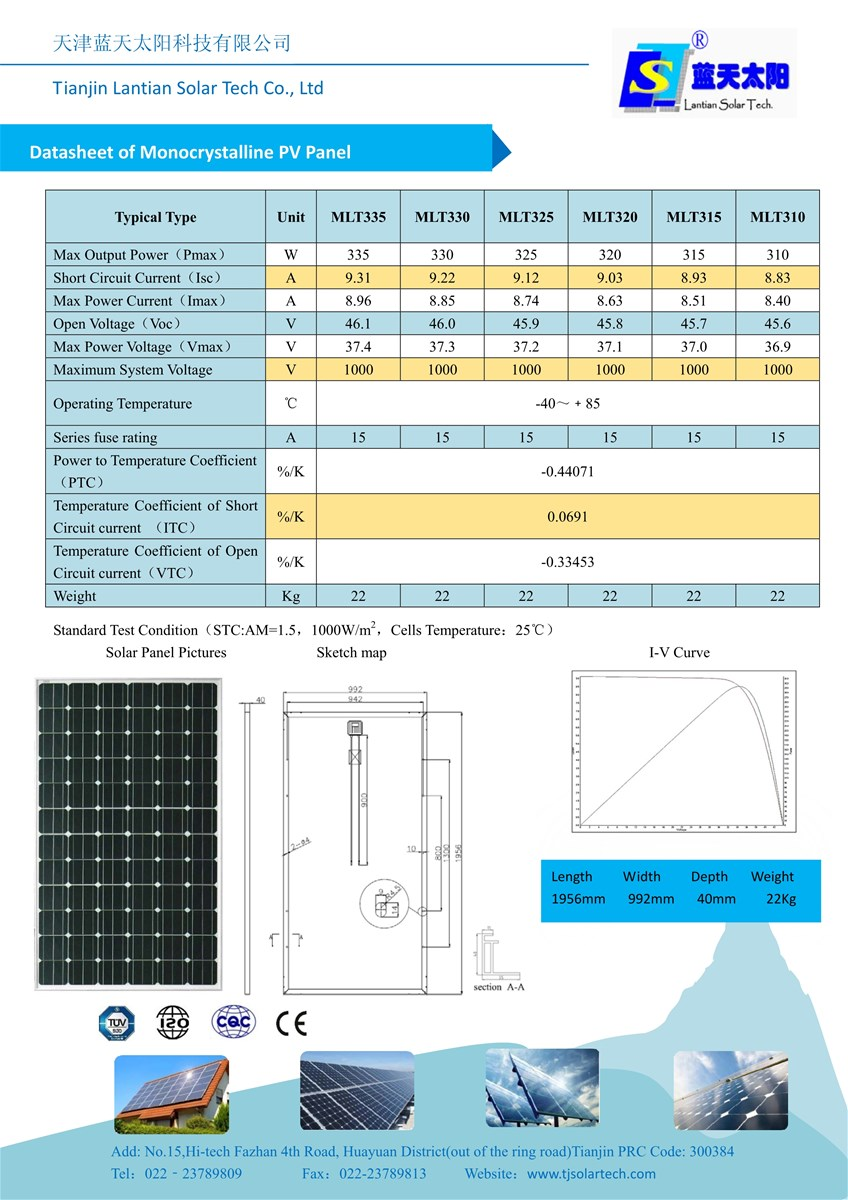 100W315W High Quality High Efficiency Solar Panels