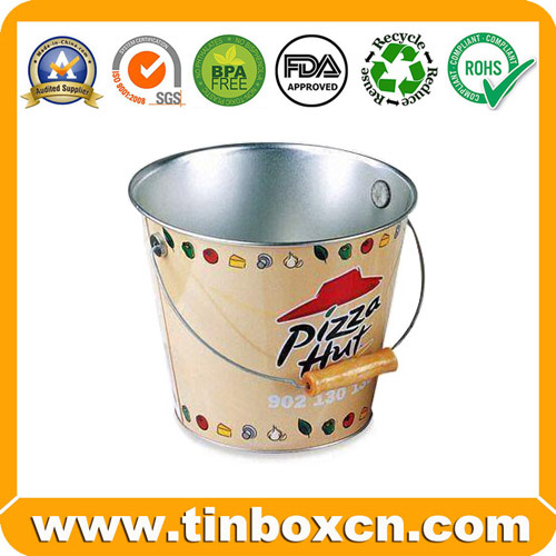 Galvanized Ice Metal Bucket with Wooden Handle, Food Tin Pail (BR1973)