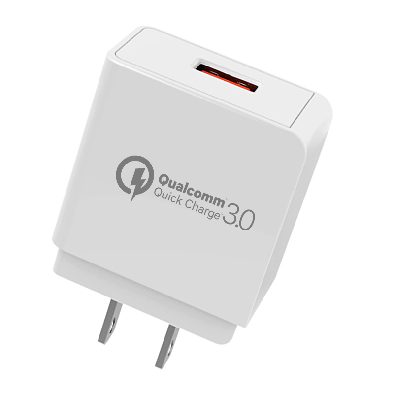 New Arrival QC3.0 18W Max Quick Fast USB Charger 1 Port Wall Charger for Mobile Phone